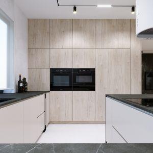 Kuchnia to połączenie bieli i jasnego drewna. Projekt i wizualizacje: Tomasz Kaim, Agnieszka Drużkowska, kaim.work