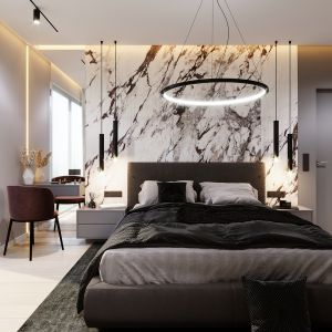 Duże małżeńskie łóżko z zagłówkiem i tapicerowaną ramą to piękna ozdoba sypialni. Projekt i wizualizacje: Tomasz Kaim, Agnieszka Drużkowska, kaim.work
