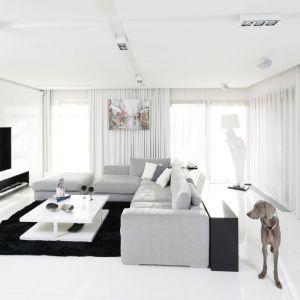 Biały salon, dzięki czarny dodatkom jest elegancki. Projekt: Małgorzata Muc, Joanna Scott. Fot. Bartosz Jarosz