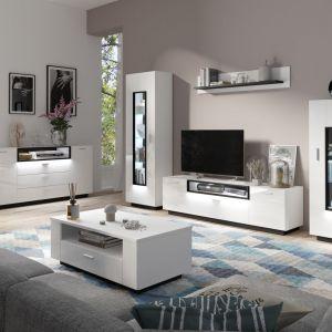 Białe meble do salonu z kolekcji Ravenna dostępne w ofercie firmy Meble Wójcik. Fot. Meble Wójcik