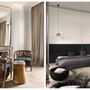 Jak urządzić kawalerkę. Pomysł 5: luksusowy minimalizm i przeszklenia. Przestrzeń tej 42-metrowej kawalerki miała łączyć w sobie francuską klasykę i nowoczesność, być miejscem do życia i tworzenia. Projekt: Aga Kobus i Grzegorz Goworek, Studio Organic
