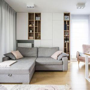 Biały salon ocieplony drewnem. Projekt: Katarzyna Czechowicz, pracownia design me too. Fot. Katarzyna Czechowicz