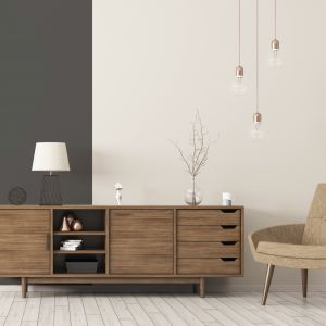 Pomysłem na niezwykle elegancki, wyrafinowany pokój dzienny będzie zestawienie na ścianie intensywnej nowej barwy Perfect z delikatnym odcieniem Vanilla Cream. Fot. Beckers Designer Colour