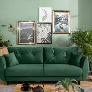 Zielona sofa w salonie z kolekcji Merla dostępna w ofercie Black Red White. Fot. Black Red White