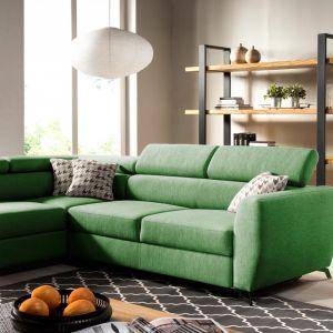 Zielony narożnik w salonie z kolekcji Comezo dostępny w ofercie firmy Caya Design. Fot. Caya Design
