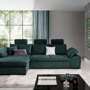 Zielony narożnik w salonie z kolekcji Dover dostępny w ofercie firmy Stagra Meble. Fot. Stagra Meble