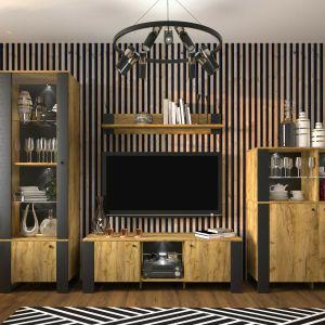 Meble do salonu: kolekcja Wood to urok połączenia ciepłego dębowego wybarwienia oraz kontrastujących z nią czerni. Sprzedaż: Salony Agata