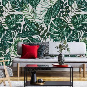 Ściana w salonie. Pomysł 2. Botaniczne, roślinne wzory na ścianie.  Na zdjęciu tapeta dostępna w sklepie Myloviev.pl
