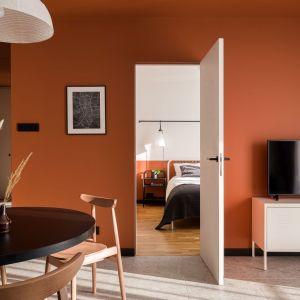 Drzwi skrywają wejście do sypialni. Projekt: pracownia 3XEL. Fot. Dariusz Jarząbek