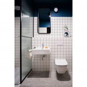 W łazience zastosowano chłodną paletę barw. Projekt: pracownia 3XEL. Fot. Dariusz Jarząbek