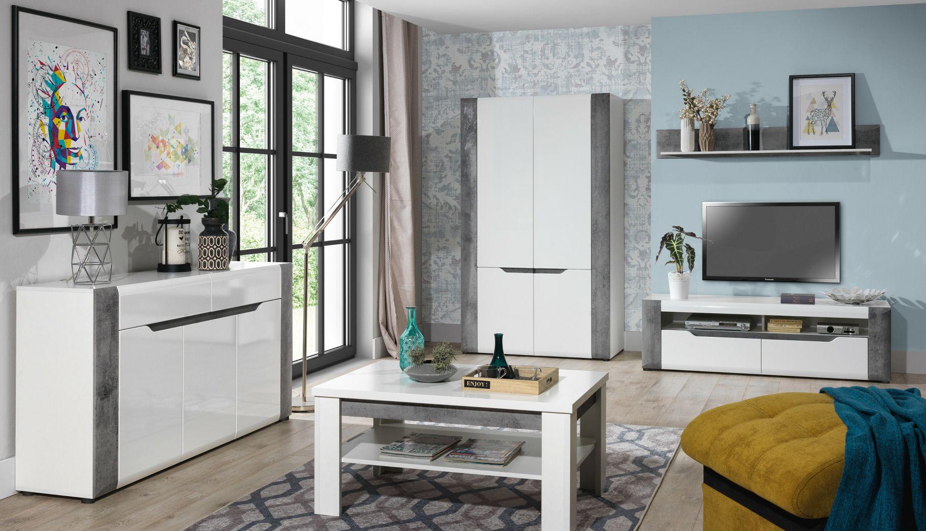 Stolik kawowy do salonu w białym kolorze z kolekcji Brando dostępny w ofercie firmy Salony Agata. Fot. Salony Agata