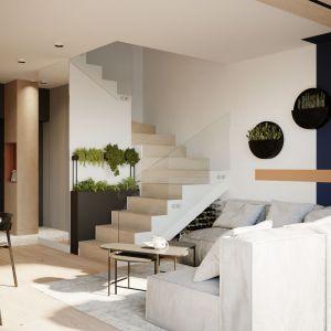 Klatka schodowa z minimalistyczną szklaną balustradą. Projekt: Sara Tokarczyk i Wojciech Poziomka, Studio Smart Design