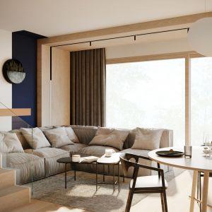 Strefa wypoczynkowa z ciekawie rozwiązanym oświetleniem sufitowym. Projekt: Sara Tokarczyk i Wojciech Poziomka, Studio Smart Design