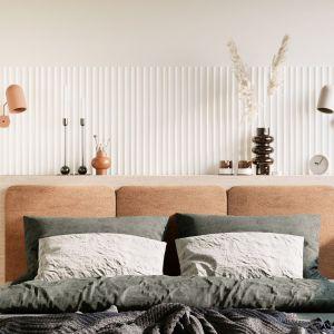 Sypialnia ze ścianą z ryflowanego drewna. Projekt: Sara Tokarczyk i Wojciech Poziomka, Studio Smart Design