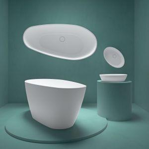 Dzięki estetycznym korkom wykonanym z tego samego materiału zarówno umywalka, jak i wanna są jednolite kolorystycznie i spójne w formie. Fot. Fjordd