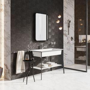 Monochromatyczna biało-grafitowa łazienka. Na zdjęciu z baterią umywalkową Fiesta od marki Ferro. Fot. Ferro