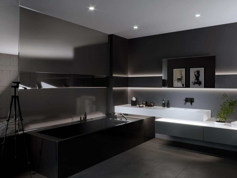 Czarna łazienka to eleganckie rozwiązanie, które sprawdzi się raczej na większym metrażu. Na zdjęciu łazienka z bateriami Algeo Black/Chrome marki Ferro. Fot. Ferro