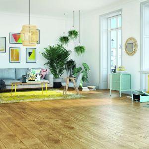 Wiosenne trendy w salonie. Podłoga w kolorze dąb sunflower Swiss Krono. Fot. Swiss Krono, Bel-Pol/Galeria Wnętrz Domar