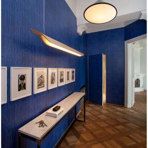 Ściany przedpokoju ozdabia niebieska tapeta, jest zupełnie gładka, jednak jej wzór wywołuje optyczne złudzenie głębi i trójwymiarowości. Projekt: Joanna Kulczyńska-Dołowy, Kulczyński Architekt. Fot. Hanna Długosz
