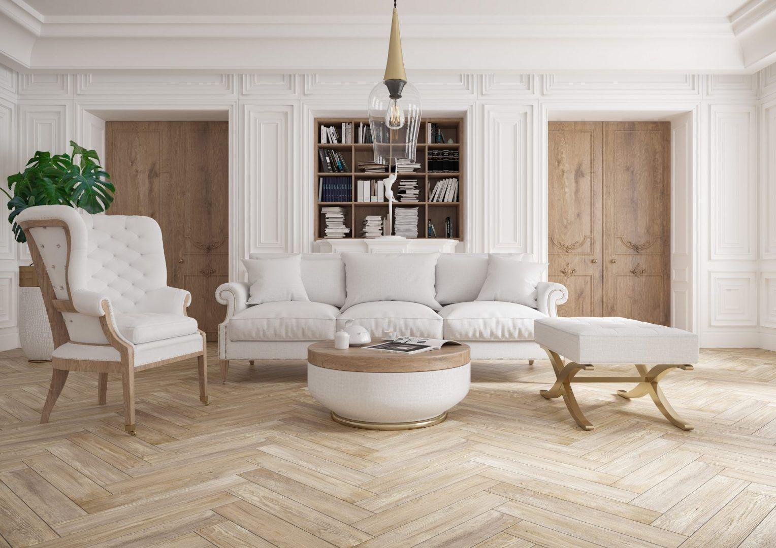 Płytki z kolekcji Tramonto imitujące drewniany parkiet. Fot. Cerrad