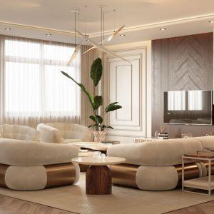 Salon urządzony w stylu mid-century. Projekt i zdjęcia: Covet House