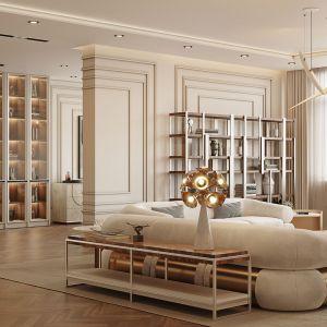 Elegancka i luksusowa strefa dzienna w wartym 16 mln euro apartamencie. Projekt i zdjęcia: Covet House