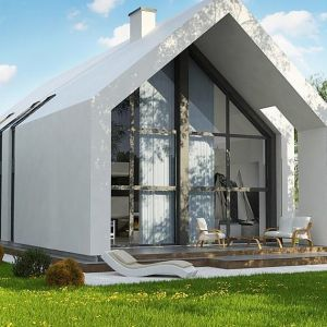 Prezentujemy nowoczesny dom typu stodoła z dachem dwuspadowym, garażem i dużymi przeszkleniami. Projekt Z215 A z pracowni Z500. Fot. Studio Z500