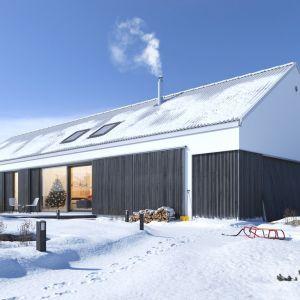 """Rośnie popularność budynków typu """"stodoła"""", posiadających charakterystyczną podłużną formę i dwuspadowy bezokapowy dach. Fot. Galeco"""