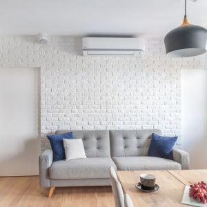 Ściana za kanapą w salonie wykończona jest białą cegła, która optycznie powiększa niedużą strefę dzienną. Projekt: Ewelina Para, RED design. Fot. Adam Woropiński www.bardzo.photo.pl