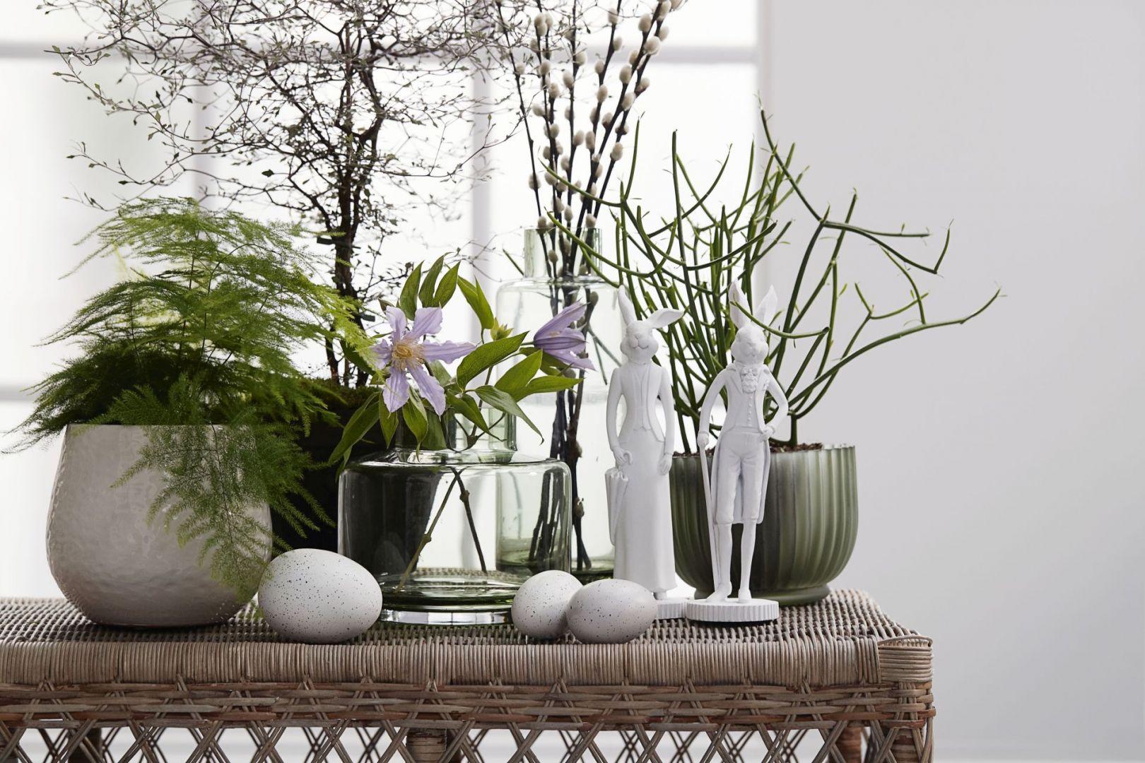 Minimalistyczna dekoracja wielkanocna w kolorach białym i zielonym. Fot. Ella James