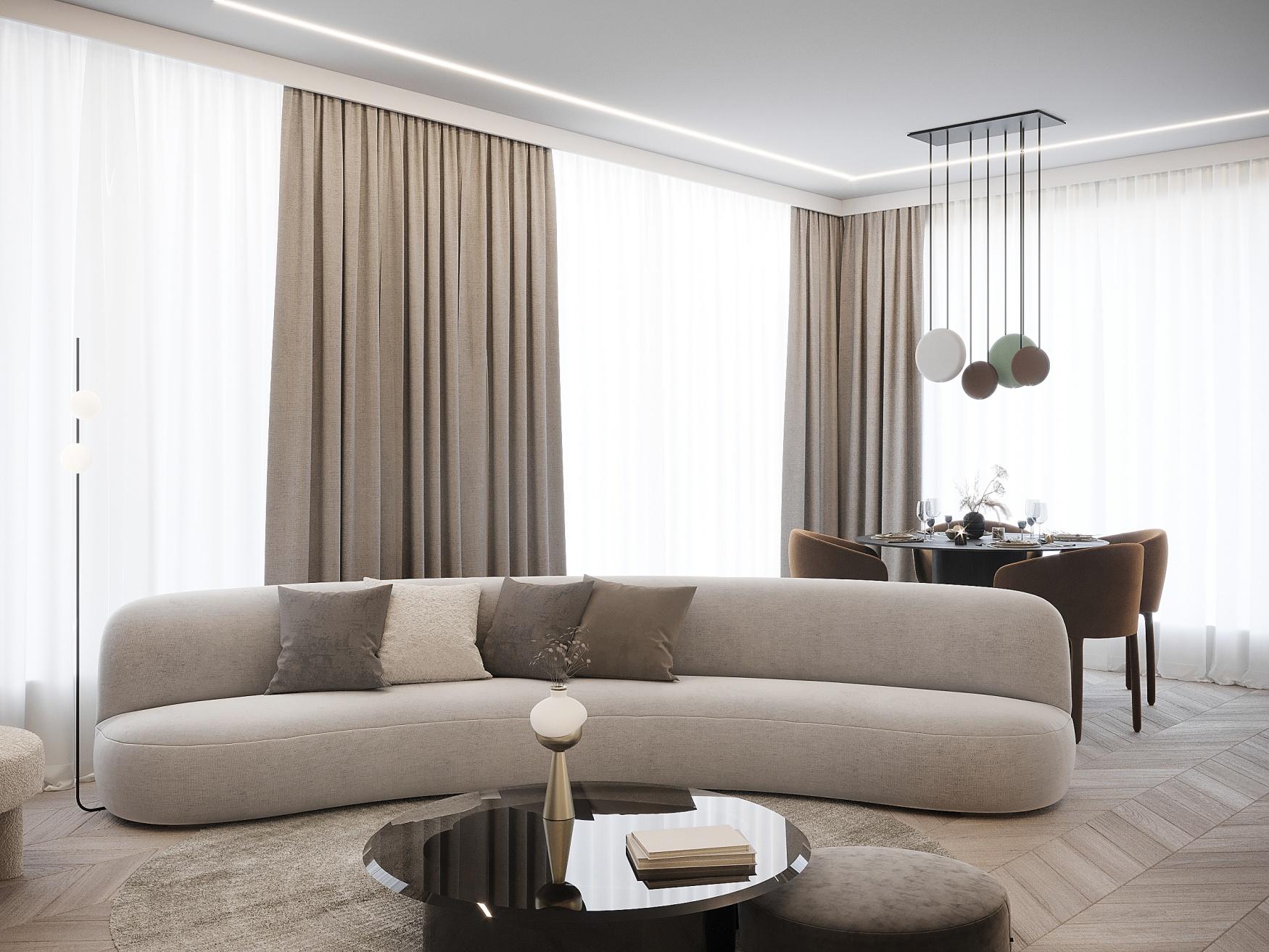 Czteropokojowe mieszkanie jest zlokalizowane w centrum Warszawy i liczy prawie 100 m² powierzchni. Projekt i zdjęcia Moovin Interiors