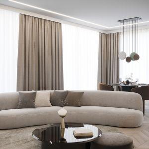Czteropokojowe mieszkanie w nowoczesnym stylu i salon w beżowej palecie kolorystycznej. Projekt i zdjęcia: Moovin Interiors