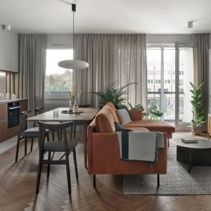 Pomysł na salon w bloku z kuchnia i jadalnią. Projekt: Raca Architekci. Fot. Tom Kurek