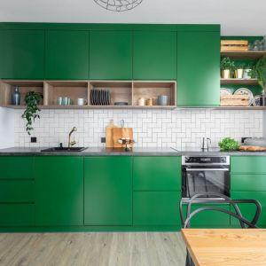 Mała kolorowa kuchnia na jedną ścianę z AGD w zabudowie. Projekt: Deer Design