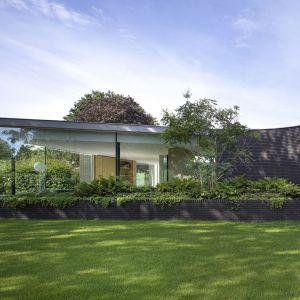 Luksusowy minimalistyczny dom z zielonym patio połączonym ze strefą dzienną. Zdjęcia: i29/Ewout Huibers