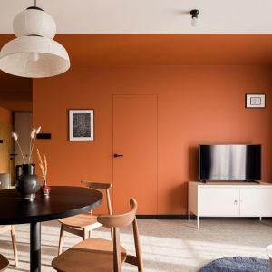 Ścianę za telewizorem wykończono mocny kolorem. Projekt: pracownia 3XEL. Fot. Dariusz Jarząbek