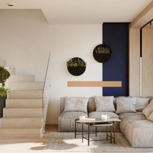 Salon z dodatkami w stylu naturalnym. Projekt: Sara Tokarczyk i Wojciech Poziomka, Studio Smart Design