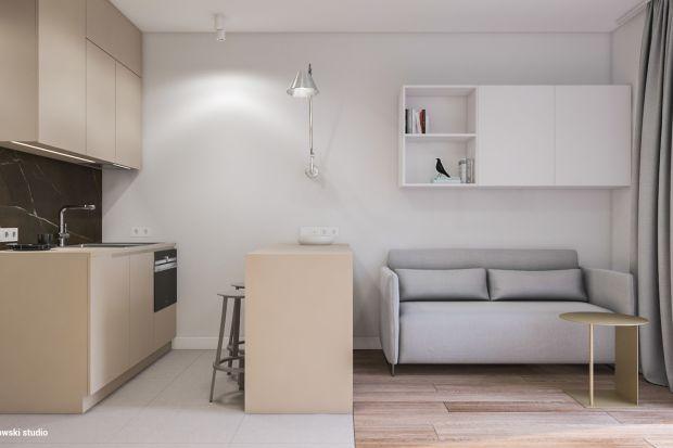 Mikromieszkanie powstało z myślą o wynajmie, pierwotnie z nieco innym układem funkcjonalnym. Na 10 piętrze nowoczesnego apartamentowca zaprojektowano wnętrze proste, spójne i z charakterem.