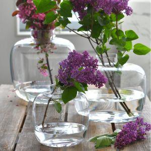 Kolekcja Latitude składa się z trzech wielkości wazonów w delikatnej zieleni lub przezroczystych: mają od 18 do 28 cm wysokości. Fot. Krosno Glass