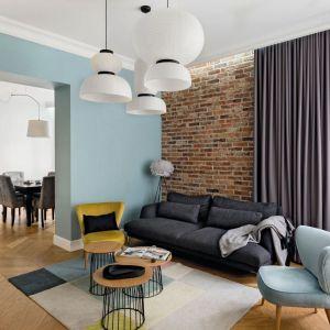 Ściana za kanapą w salonie wykończona jest cegłą w czerwonym kolorze. Projekt: Anna Maria Sokołowska, Anna Maria Sokołowska, Architektura Wnętrz. Fot. Paweł Mądry