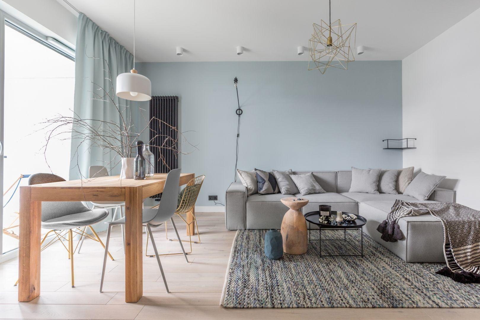 Dywan w salonie w modne pasy w skandynawskim klimacie. Projekt: Alina Fabirkowska. Fot. Pion Poziom