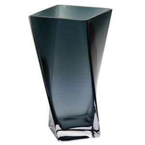 Rozchylany wazon Twist szaroniebieski. Fot. Krosno Glass