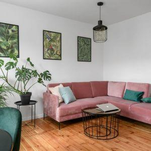 Sofa w pudrowym różu z poduszkami i dekoracjami w ciemnej zieleni i na tle białej ściany. Projekt: Magdalena i Robert Scheitza, pracownia SHLTR Architekci