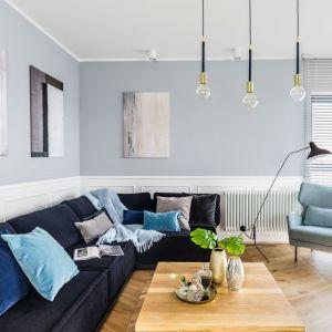 Granatowa sofa zestawiona ze ścianami w jasnej szarości i dodatkami z niebieskiej palety. Projekt: Decoroom. Zdjęcia Marta Behling  Pion Poziom Fotografia Wnętrz