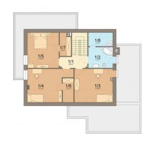 Rzut poddasza 1. Komunikacja: 4.84 m2 2. Łazienka: 7.41 m2 3. Pokój: 14.08 m2 4. Pokój: 14.14 m2 5. Pokój: 12.58 m2 6. Garderoba: 2.54 m2 7. Garderob: 2.54 m2 8. Pralnia: 1.97 m2