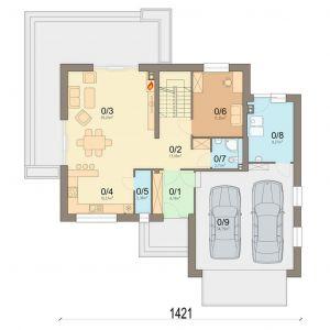 Rzut parteru 1. Wiatrołap: 6.18 m2 2. Komunikacja + klatka schodowa: 13.18 m2 3. Salon: 29.2 m2 4. Kuchnia: 10.37 m2 5. Spiżarnia: 2.36 m2 6. Pokój: 11.35 m2 7. Łazienka: 2.71 m2 8. Kotłownia: 9.27 m2 9. Garaż: 34.75 m2