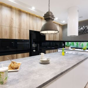 Piękna kuchnia w domu z wyspą z betonowym blatem y wysoką drewnianą zabudową. Projekt: Dariusz Grabowski. Fot. Bartosz Jarosz