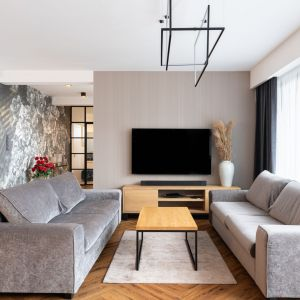 Jasny salon urządzono w beżach oraz w szarościach. Projekt: Aleksandra Michalak x Dekorian Home. Fot. Łukasz Michalak