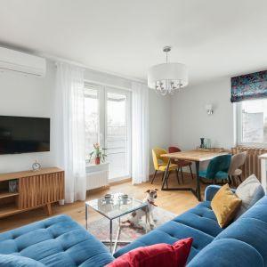 Biały salon pięknie ożywiają kolorowe meble, ociepla zaś drewniana podłoga. Projekt: Justyna Mojżyk, poliFORMA. Fot. Monika Filipiuk-Obałek