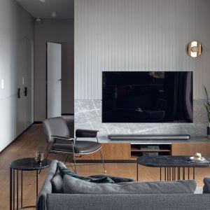 Ścianę za telewizorem zdobi naturalny kamień. Projekt Raca Architekci. Fot. Tom Kurek